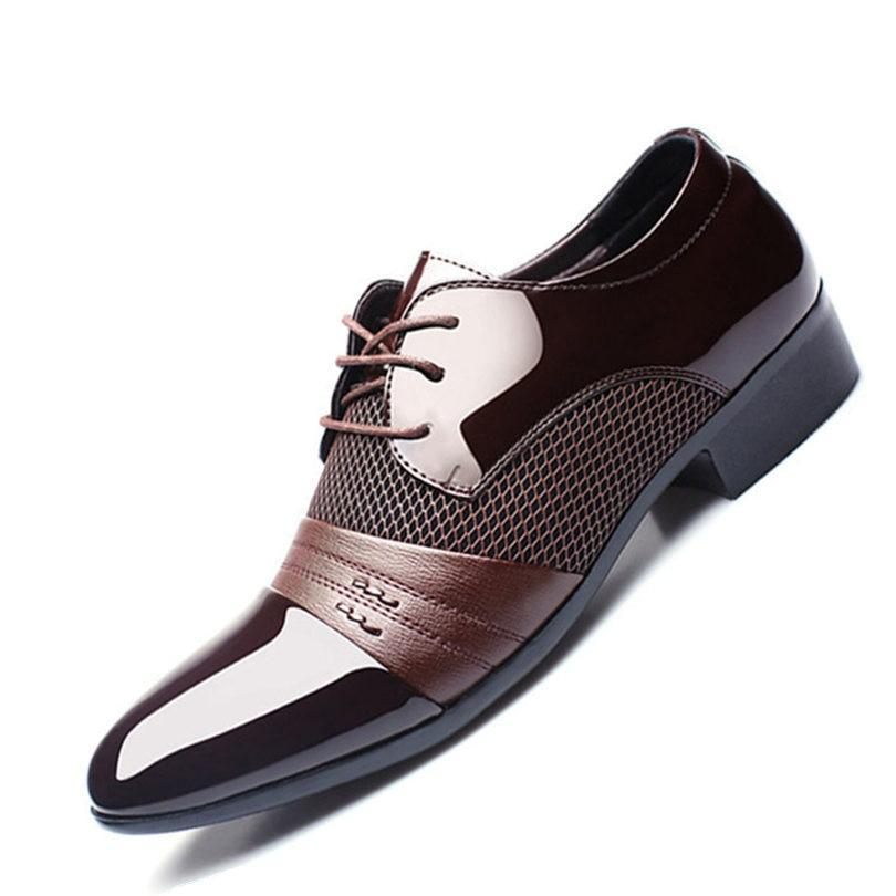 Men's Pointed Toe Genuine Leather Linen Pattern Lace-Up Shoes
