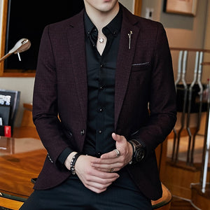 Men's Turn-down Collar Long Sleeve Linen Pattern Single Button Blazers