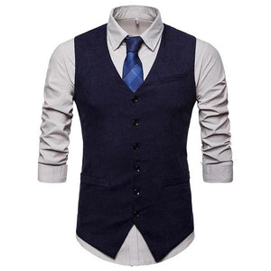 Men's V-Neck Sleeveless Plain Single Breasted Square Pocket Vests