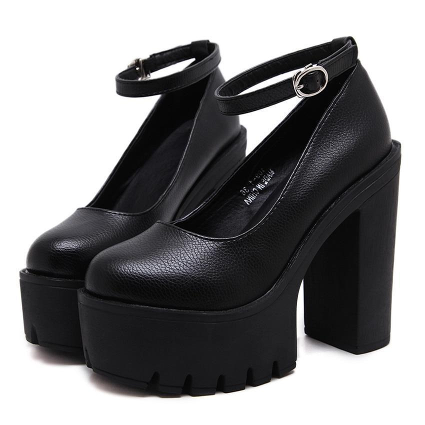 Women's Round Toe Plain High Heel Alloy Pin Buckle Ankle Strap Shoes