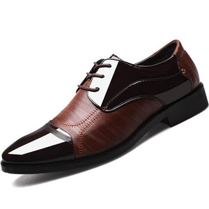 Men's Pointed Toe Leather Plain Pattern Lace-Up Formal Shoes