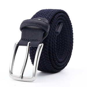 Women's Canvas Stretchy Braided Strap Square Alloy Pin Buckle Belts