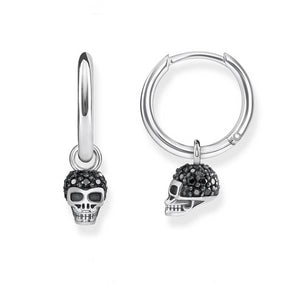 Women's 100% 925 Sterling Silver Skull Black Zircon Stud Hoop Earrings