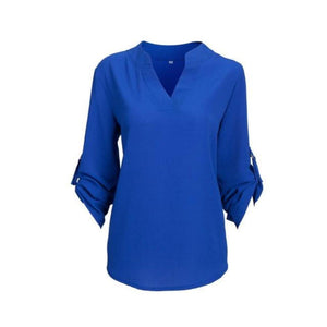Women's V-Neck Half Sleeve Plain Loose Chiffon Formal Blouses