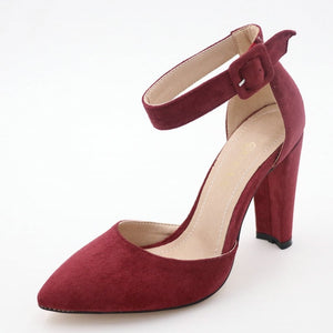 Women's Pointed Toe Suede High Square Heel Pin Buckle Ankle Shoes