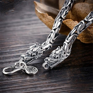 Men's 100% 925 Sterling Silver Round Punk Rock Pattern Hook Bracelet