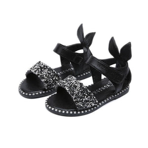 Kid's Peep Toe Bling Back Rabbit Ear Patchwork Side Closure Sandals