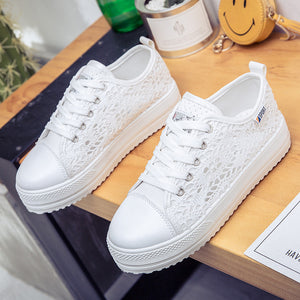 Women's Canvas Round Toe Floral Lace Hollow Cross-Tied Sneakers