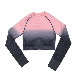 Women's Long Sleeve Stretchy Color Patchwork Sportswear Crop Top