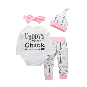 Baby Girl's O-Neck Long Sleeve Printed Romper With Pant Headband Hat