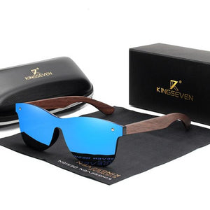 Men's Square Colorful Mirror Lens Wooden Frame Rimless Sunglasses