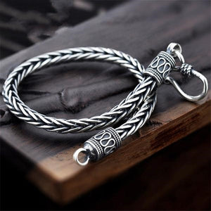 Men's 100% 925 Sterling Silver Round Snake Chain Trendy Hook Bracelet