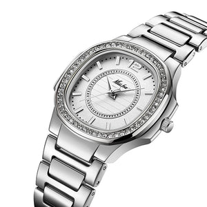 Women's Round Stainless Steel Waterproof Clasp Quartz Wrist Watch