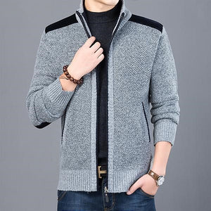 Men's Stand Collar Long Sleeve Plain Zipper Closure Knitwear Jacket