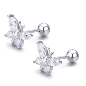 Kid's 100% 925 Sterling Silver Butterfly Zircon Push-Back Earrings