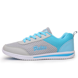 Women's Round Toe Mesh Color Patchwork Lace-Up Sportswear Sneakers