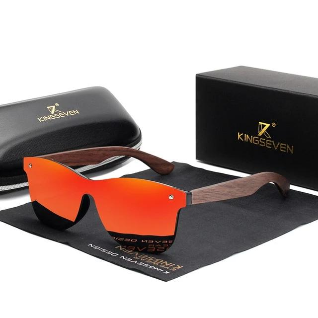 Men's Square Colorful Lens Wooden Frame Polarized Mirror Sunglasses