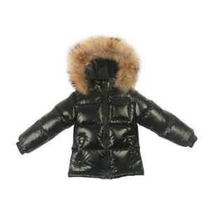 Kid's Long Sleeve Slit Pocket Zipper Closure Fur Hooded Down Jacket