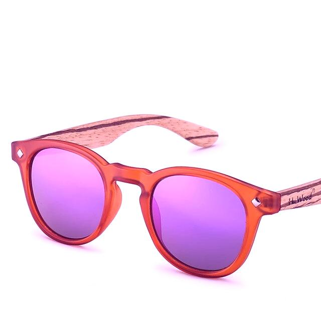 Kid's Round Light Colorful Mirror Lens Wooden Frame Sunglasses