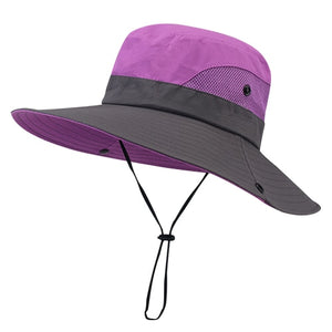 Women's Round Cloth Color Patchwork Neck Lace-Up Summer Hats