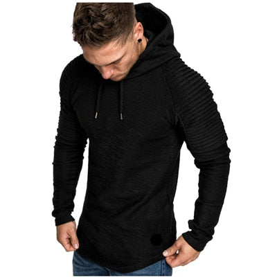 Men's High Neck Long Sleeve Plain Patchwork Hooded Knot Sweaters