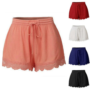 Women's Low Elastic Waist Lace-Up Plain Summer Wear Flare Shorts