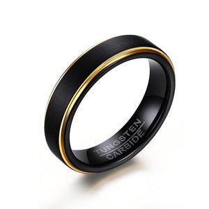 Men's 100% Tungsten Round Black Gold Rhodium Wedding Ring