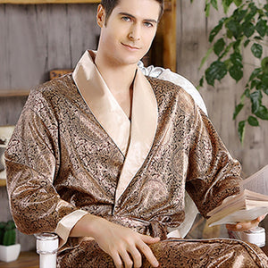 Men's Open Stitch Flare Sleeve Printed Lace-Up Waist Sleepwear Robes