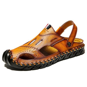 Men's Round Toe Leather Patchwork Slip-On Back Strap Casual Sandals