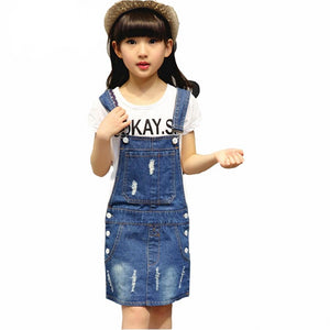 Kid's Square Neck Sleeveless Ripped Button Closure Denim Dress