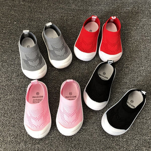 Kid's Round Toe Mesh Hole Stretchy Patchwork Slip-On Casual Sneakers