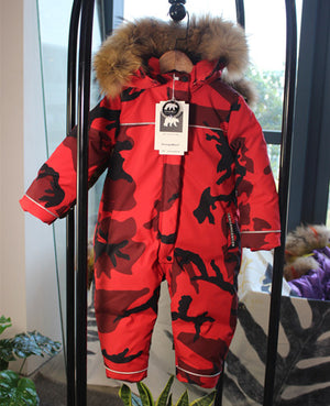 Kid's Long Sleeve Camouflage Zipper Closure Fur Hooded Down Jacket