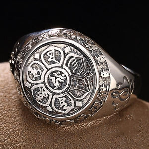 Men's 100% 925 Sterling Silver Round Engraved Pattern Vintage Ring