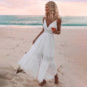 Women's Deep V-Neck Sleeveless Hollow Out Embroidery Flare Dress