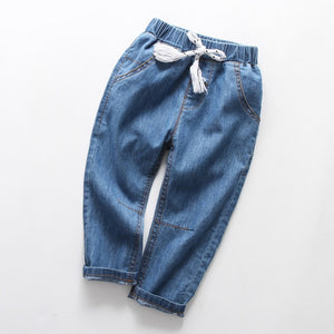 Kid's Low Elastic Waist Plain Slim With Side Pocket Casual Denim Jeans