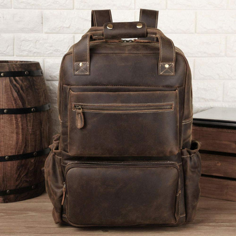 "Platero Men's Leather Backpack Crazy Horse for Business Use Office Daypacks 15.6"" Laptop Bag Large Capacity Travel"