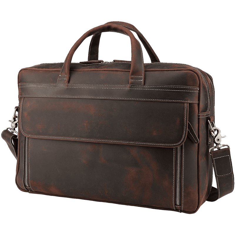 Men's Solid Full Grain Cowhide Leather Large 17 Inch Laptop Briefcase