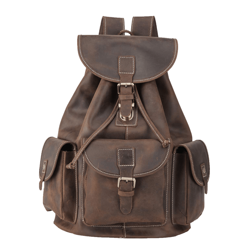 "Full Grain Leather Backpack Vintage Style by Platero 10.5"" Laptop Bag"