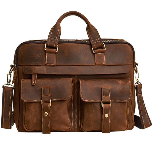 "Men's Leather Briefcase Business Travel Bag by Platero 16"" Laptop Messenger Bag"