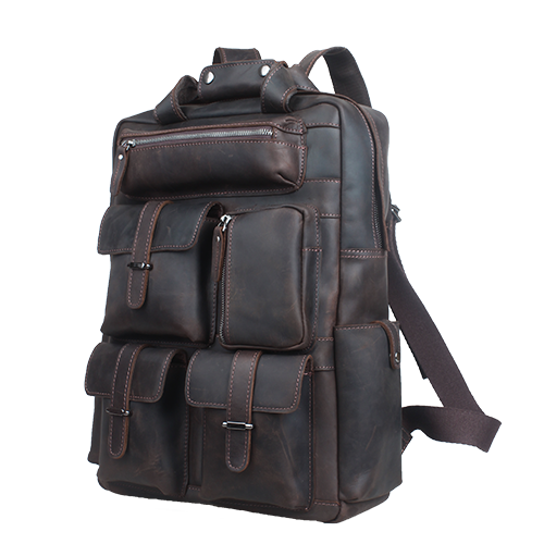 "Vintage Leather Backpack Large Travel Bag Daypack Multi Pockets Fits 15.6"" Laptop by Platero"