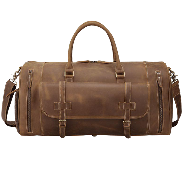 Leather Travel Duffle Full-Grain Luggage Bag Vintage Duffle Bag for Men by Platero