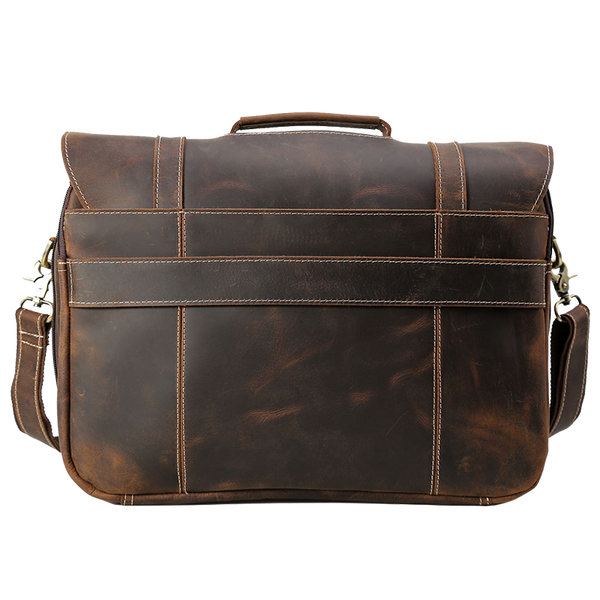 Platero Rustic Cowhide Leather Briefcase Handmade Large Laptop Bag Shoulder Daypack Messenger Bag