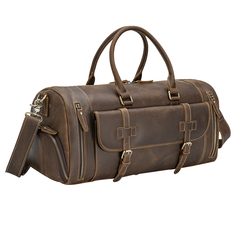 Leather Duffle Bag Travel Luggage Bag by Platero for Men & Women