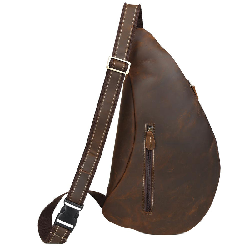 Leather Sling Bag Compact Crossbody Leather Chest Bag by Platero