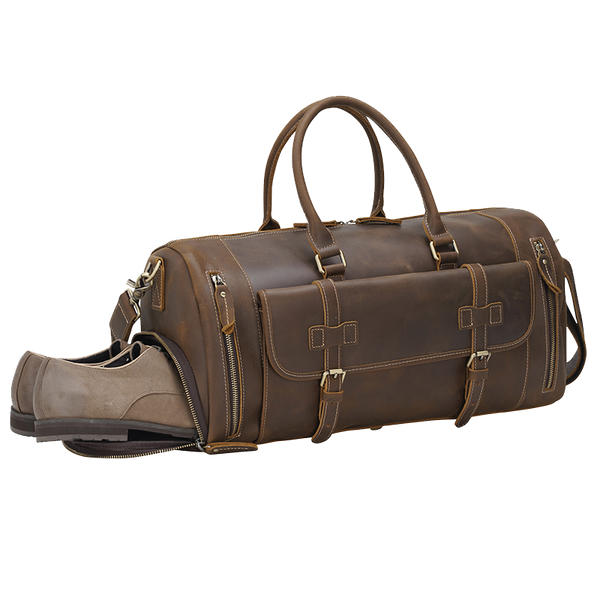 Men's Leather Duffle Bags Full-Grain Large Luggage Bag Vintage Bag by Platero