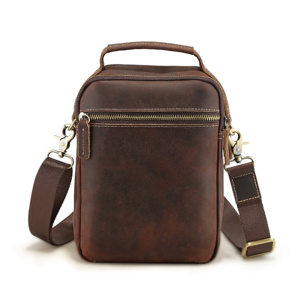 Platero Men's Leather Waist Belt Bag Small Shoulder Bag Casual Sling Handbag Waist Pocketbook for Phone Attach to Belt