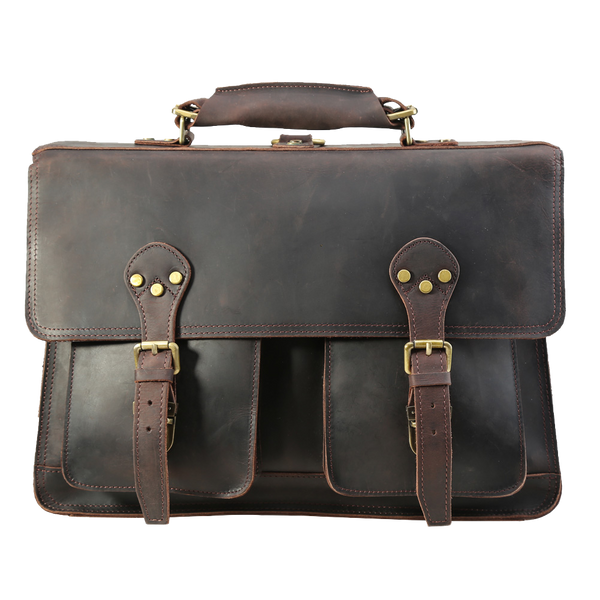 "Vintage Briefcase Handmade Leather Messenger Bag Fits 17"" Laptop for Men by Platero"
