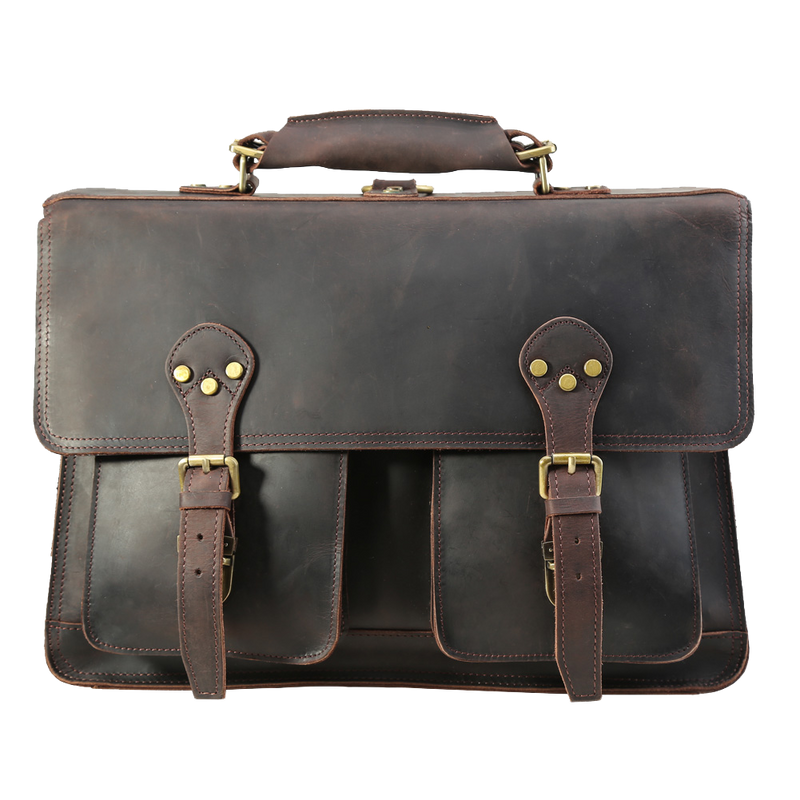 "Vintage Leather Briefcase Genuine Leather Messenger Bag Fits 17"" Laptop by Platero"
