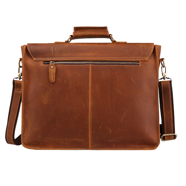 "Platero Men's Leather Briefcase 16"" Laptop Bag Full Grain Shoulder Messenger Bag Computer Satchel Bag"