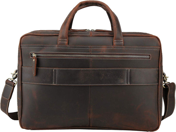"Platero Men's Solid Briefcase Leather Large Vintage Brown Business Travel Bag Handmade Messenger Bag Fits 17"" Laptop"